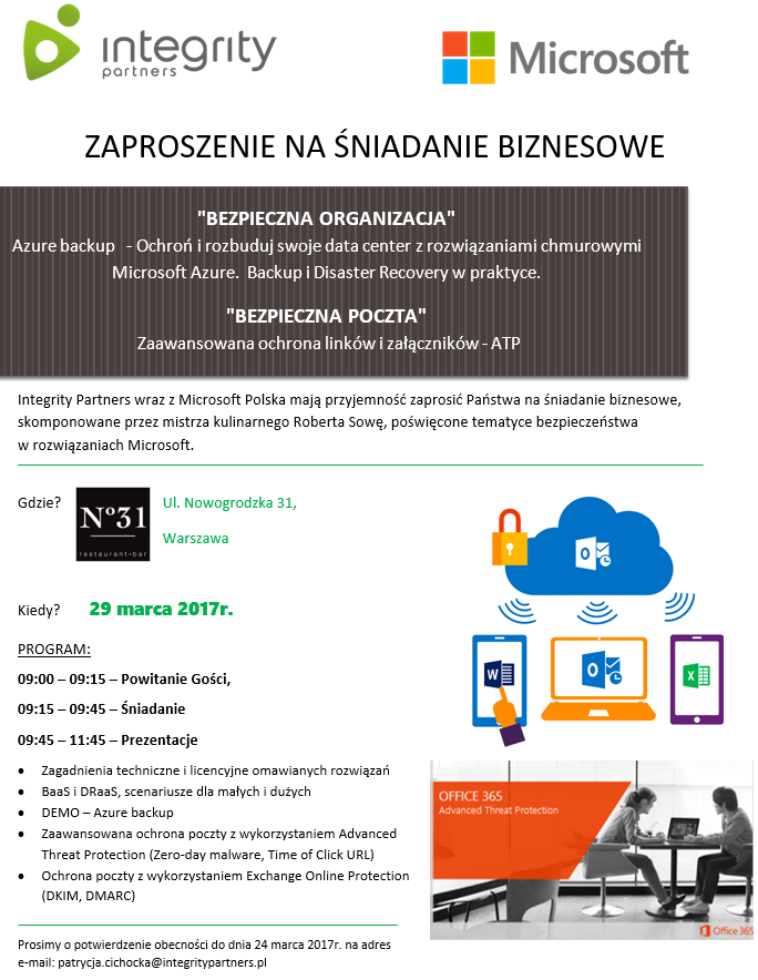 Zaproszenie Azure Backup Advanced Threat Protection